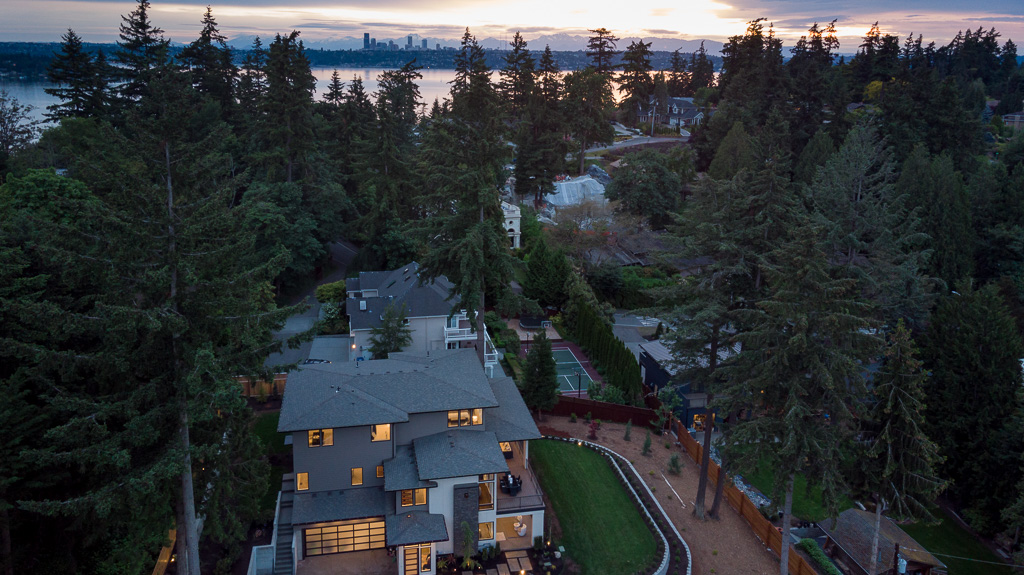 Bellevue Luxury home from the air